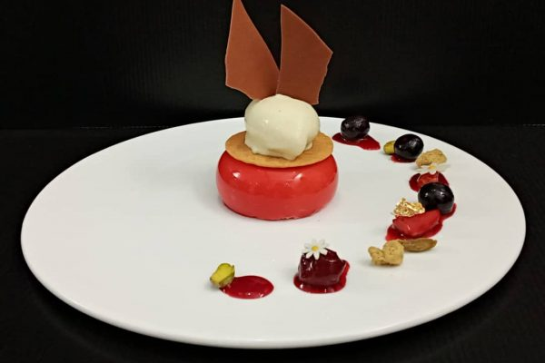 Strawberry Mousse with Berry Compote Dessert